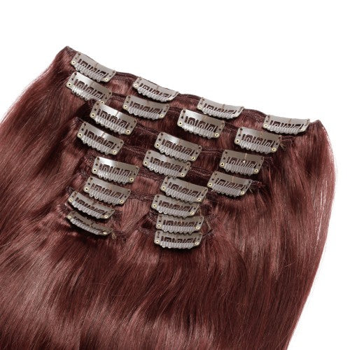 【Deluxe】	160g 20 Inch #33 Rich Copper Red Straight Clip In Hair