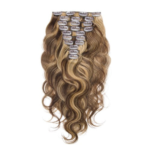 【Deluxe】	160g 20 Inch #4/27 Body Wavy Clip In Hair
