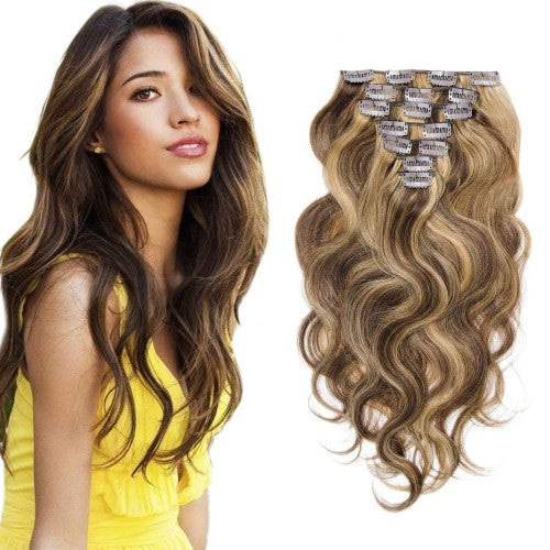 【Volumizer】	70g 16 Inch #4/27 Body Wavy Clip In Hair