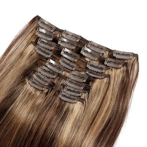 【Super Deluxe】	200g 22 Inch #4/27 Straight Clip In Hair