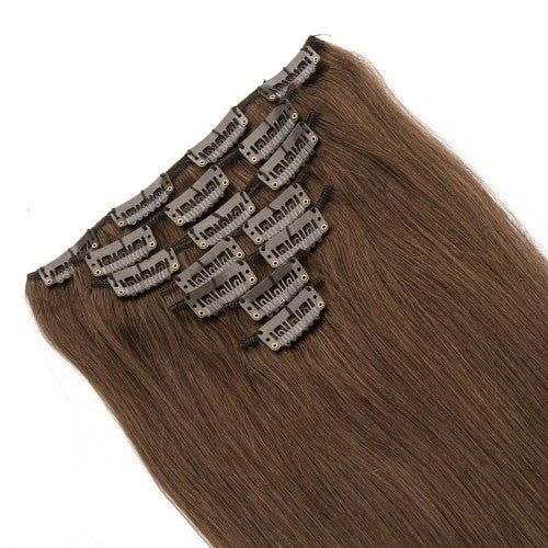 【Volumizer】 70g 16 Inch #4 Chocolate Brown Straight Clip In Hair