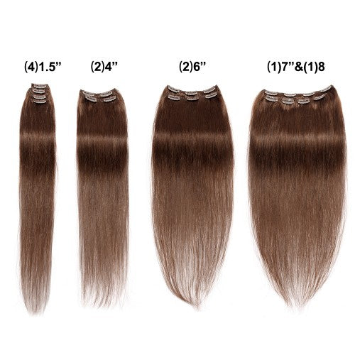 【Super Deluxe】	200g 22 Inch #4 Chocolate Brown Straight Clip In Hair