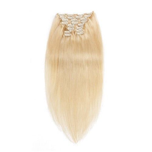 【Regular】	120g 18 Inch #60 Platium Blonde Straight Clip In Hair