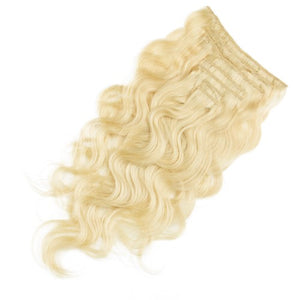 【Regular】	100g 18 Inch #613 Lightest Blonde Body Wavy Clip In Hair