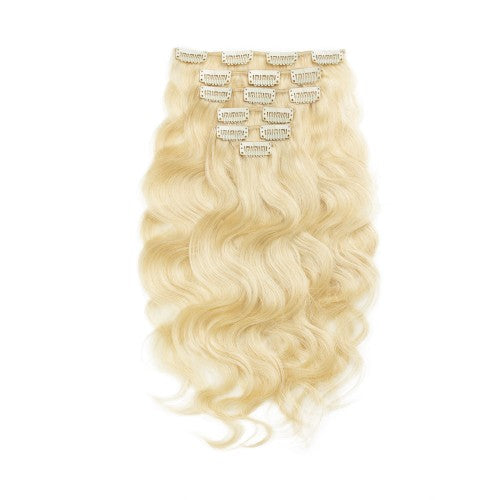 [Regular] 100g 18 Inch #613 Lightest Blonde Body Wavy Clip In Hair
