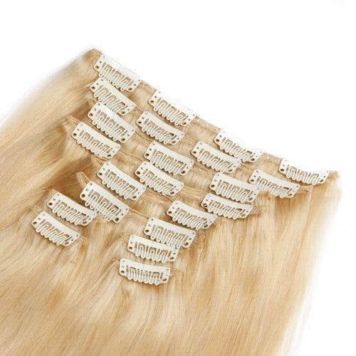 【Deluxe】	160g 20 Inch #613 Lightest Blonde Straight Clip In Hair