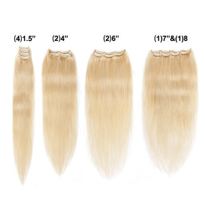 [Deluxe] 160g 20 Inch #613 Lightest Blonde Straight Clip In Hair