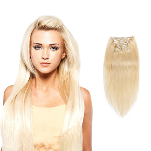 【Super Deluxe】	200g 22 Inch #613 Lightest Blonde Straight Clip In Hair