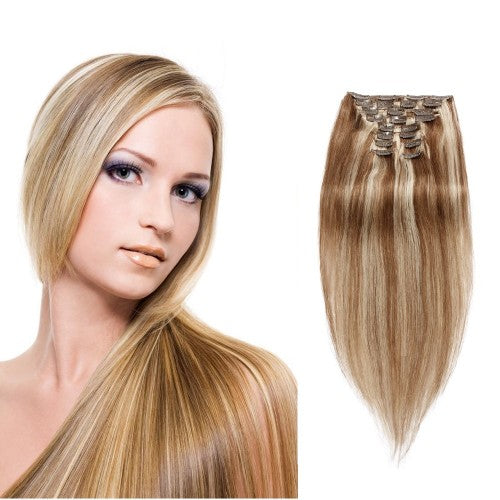 【Super Deluxe】	200g 22 Inch #8/613 Straight Clip In Hair