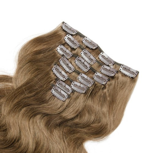 【Regular】	100g 18 Inch #8 Light Brown Body Wavy Clip In Hair