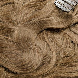 【Volumizer】	70g 16 Inch #8 Light Brown Body Wavy Clip In Hair