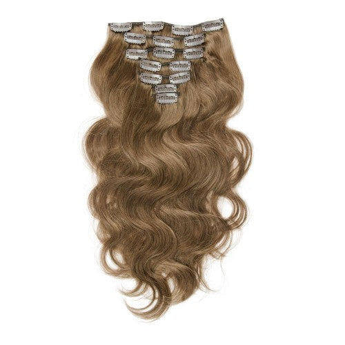 【Regular】	120g 18 Inch #8 Light Brown Body Wavy Clip In Hair