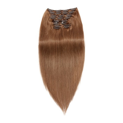 【Regular】	120g 18 Inch #8 Light Brown Straight Clip In Hair