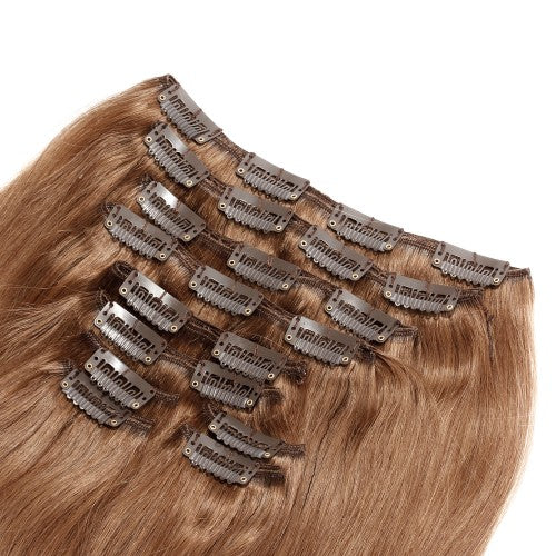 【Deluxe】	160g 20 Inch #8 Light Brown Straight Clip In Hair