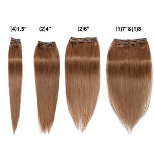 【Super Deluxe】	200g 22 Inch #8 Light Brown Straight Clip In Hair
