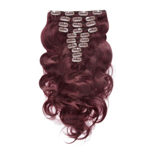 【Deluxe】	160g 20 Inch #99J Boday Wavy Clip In Hair