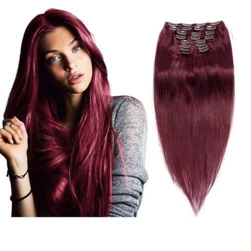 [Deluxe] 160g 20 Inch #99J Straight Clip In Hair