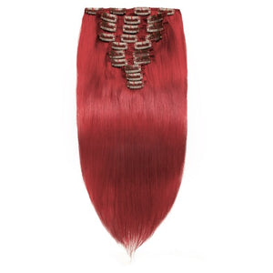【Deluxe】	160g 20 Inch Red Straight Clip In Hair
