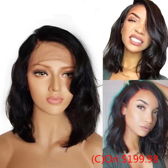 Virgin Hair Curly Bob Wigs 2-IN-1 (A)+(B) With Free Gift
