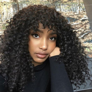 "[NEW IN]14 "" Curly Wigs With Bangs Bob Lace Front Wigs"