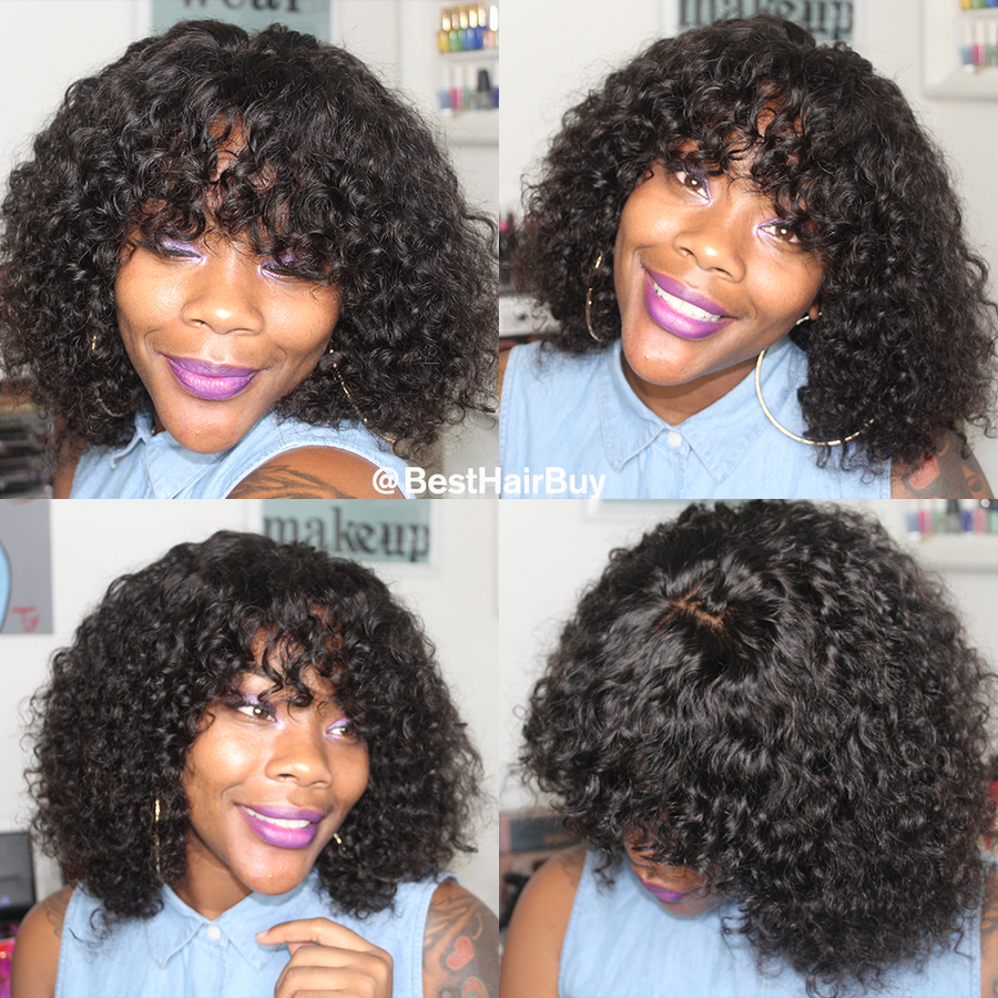 【Hot Sale】Pre-Plucked Brazilian Virgin Hair Deep Curly Side Part Bob Wigs Upgraded