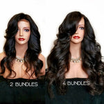 【Platinum 8A】3 Bundles Body Wavy Brazilian Virgin Hair 300g With 4*4 Body Wavy Free Part Lace Closure