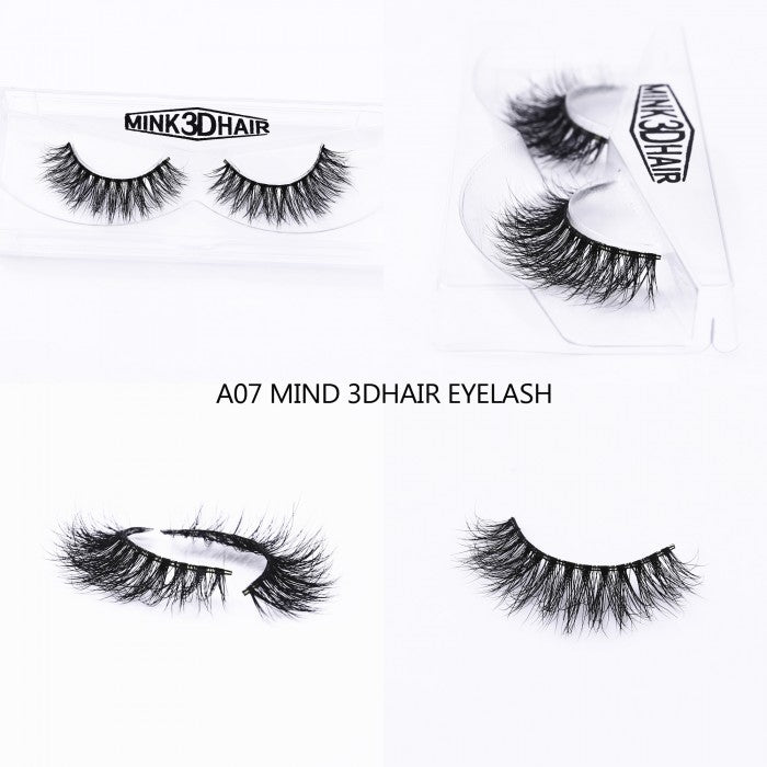 1Pair Luxury 3D Mink Fur False Eyelashes Extensions A07