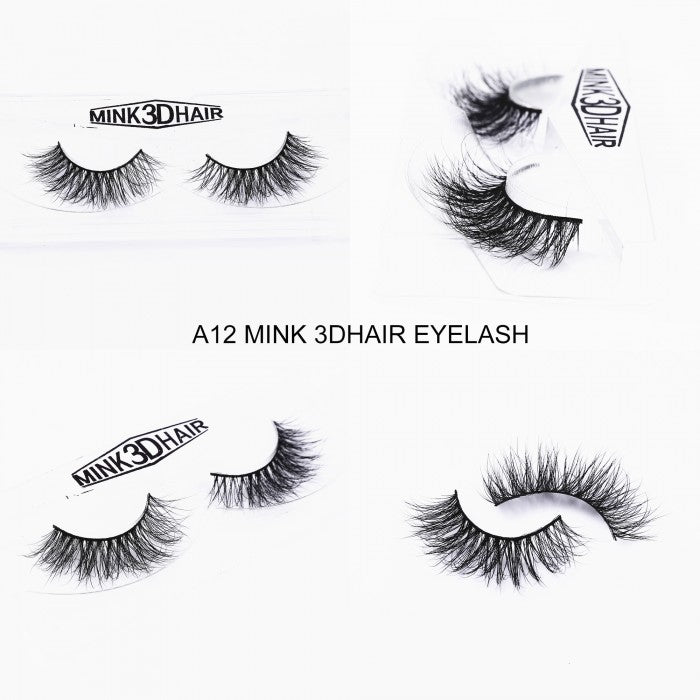 1Pair Luxury 3D Mink Fur False Eyelashes Extensions A12