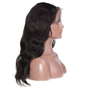 "Pre Bleached Knots 13""x 6"" Indian Human Hair Body Wavy Lace Front Wigs"