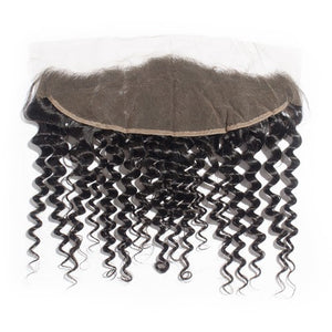 【Platinum 8A】3 Bundles Deep Curly Brazilian Virgin Hair 300g With 13*4 Deep Curly Free Part Lace Frontal