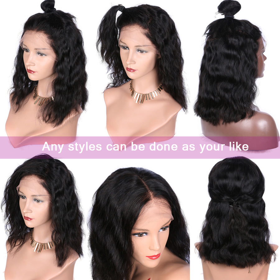 [Extra 20% Off] Pre-Plucked Brazilian Virgin Hair Lace Front Body Wavy Bob Wigs