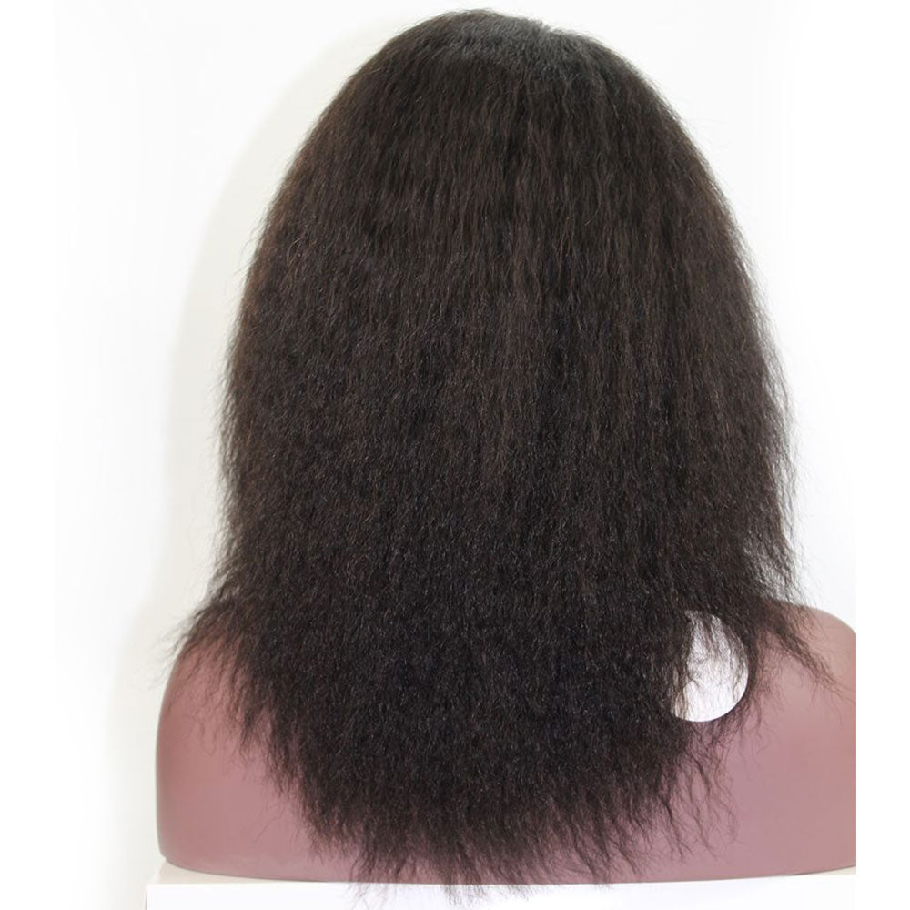 Invisible Deep L Part Kinky Straight Brazilian Virgin Hair Lace Front Wig