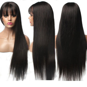 【NEW IN】	Pre-Plucked Straight Lace Front Human Hair Wigs With Bangs