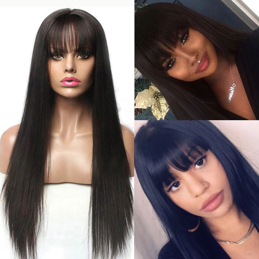 Pre-Plucked Straight Lace Front Human Hair Wigs With Bangs