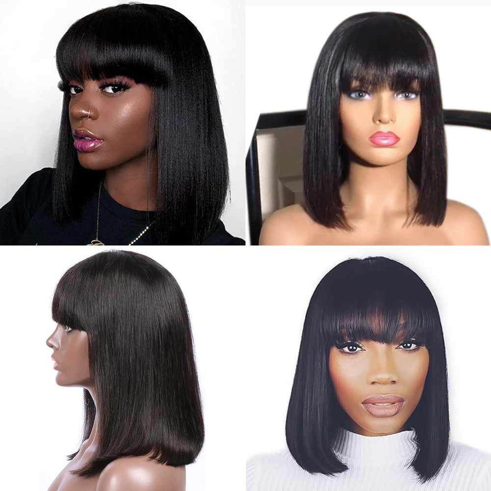 【NEW IN】	Straight Short Lace Front Human Hair Bob Wigs With Bangs