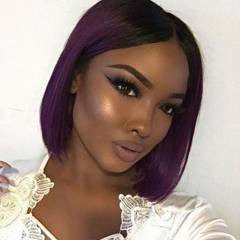 Pre-Plucked Brazilian Virgin Hair Lace Front Purple Bob Wigs