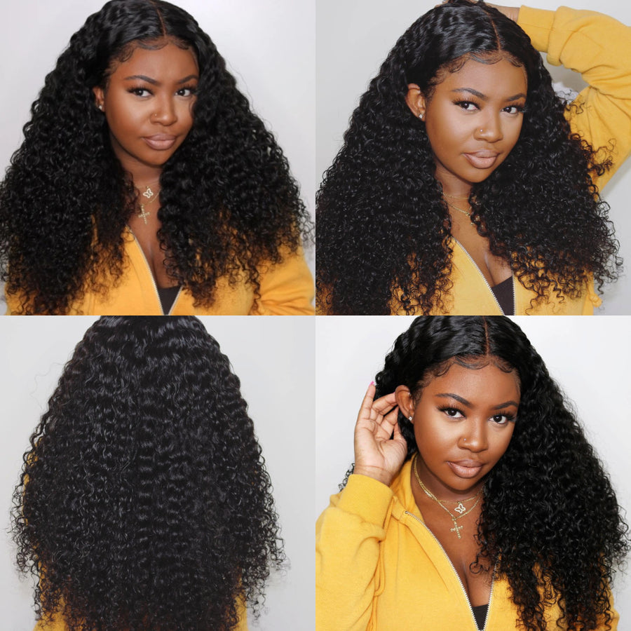 Pre-Plucked Deep Curly  Indian Remy Hair Deep Part 13x6 Lace Front Wigs
