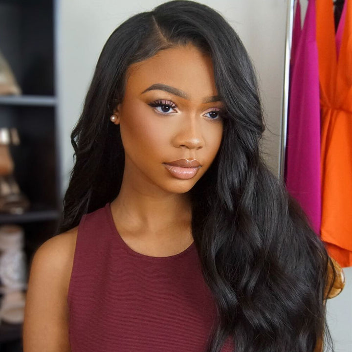 No Pluck & Bleach Needed Body Wavy Illusion Lace Fack Scalp Human Hair Wig
