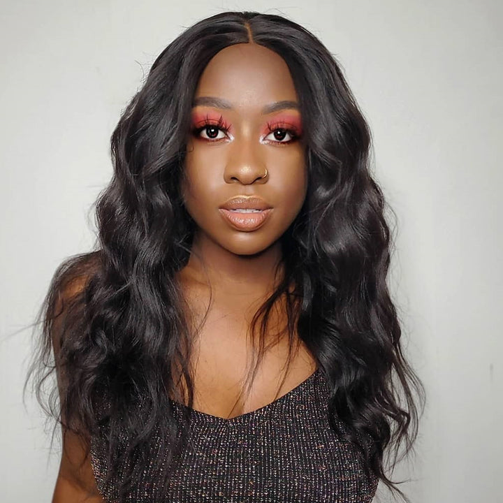 Human Hair Scalp Illusion Lace Frontal Wavy Wig