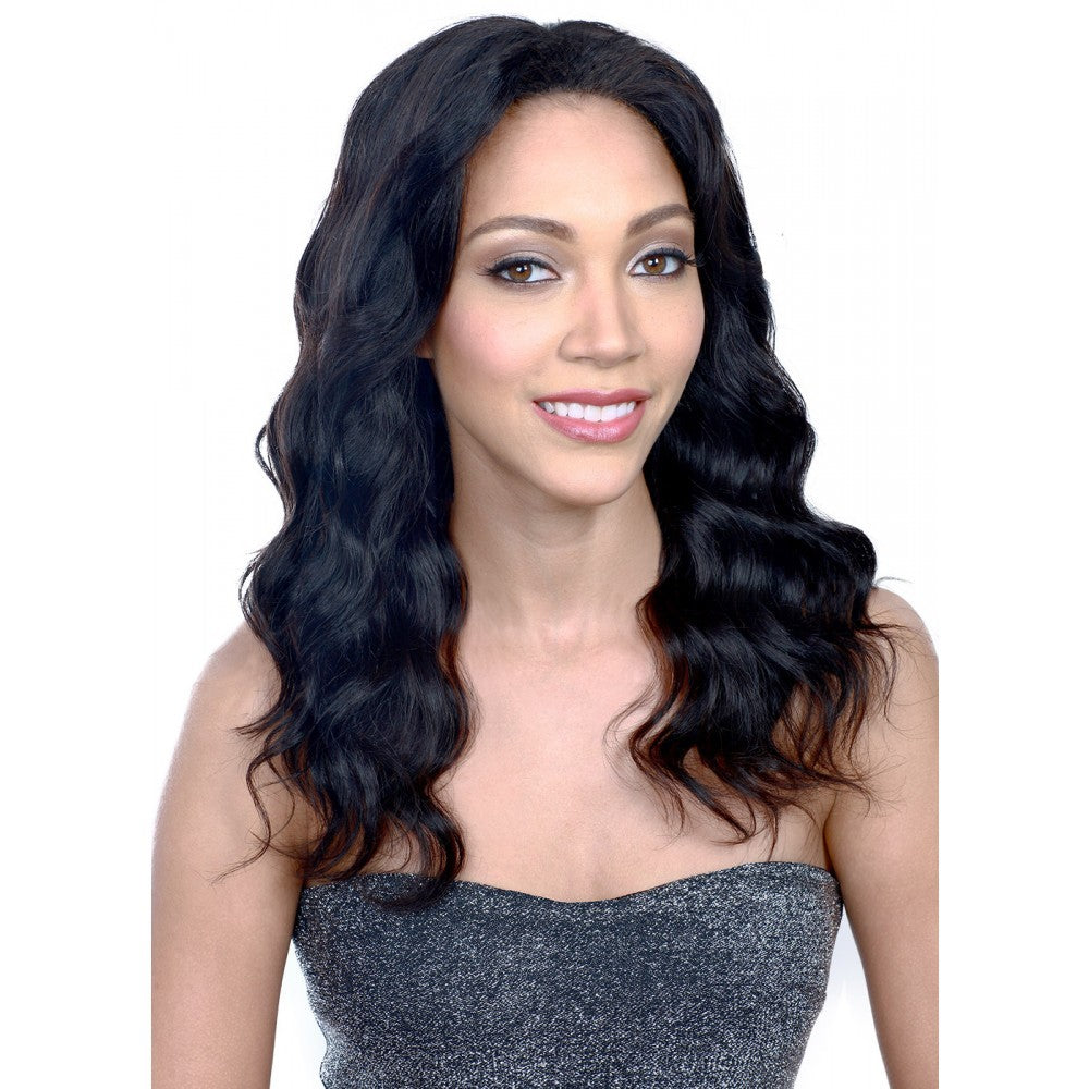 "16"" #1B Natural Black Brazilian Virgin Body Wavy Full Lace Wig"