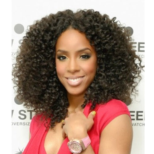 "16"" #2 Darkest Brown Indian Remy Deep Curly Full Lace Wig PWFL18"