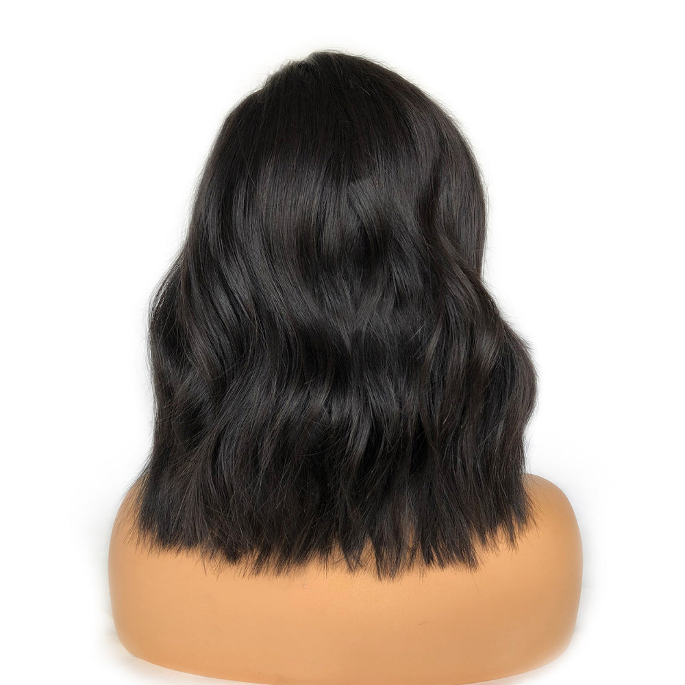 Pre-Made Fake Scalp Glueless Short Wavy Bob Lace Front Wig