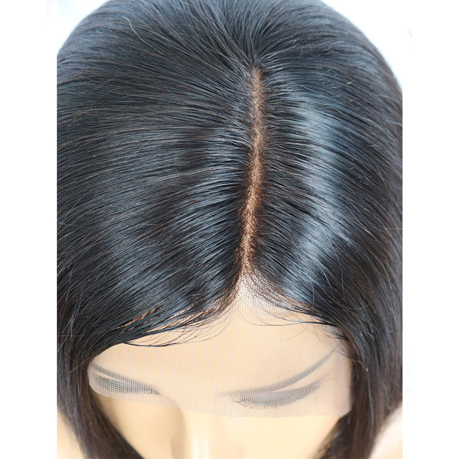 Pre-Plucked Side Part Brazilian Virgin Hair Lace Front Blunt Bob Wigs