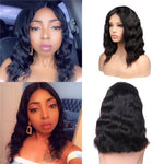Pre-Plucked Brazilian Virgin Hair Lace Front Body Wavy Bob Wigs