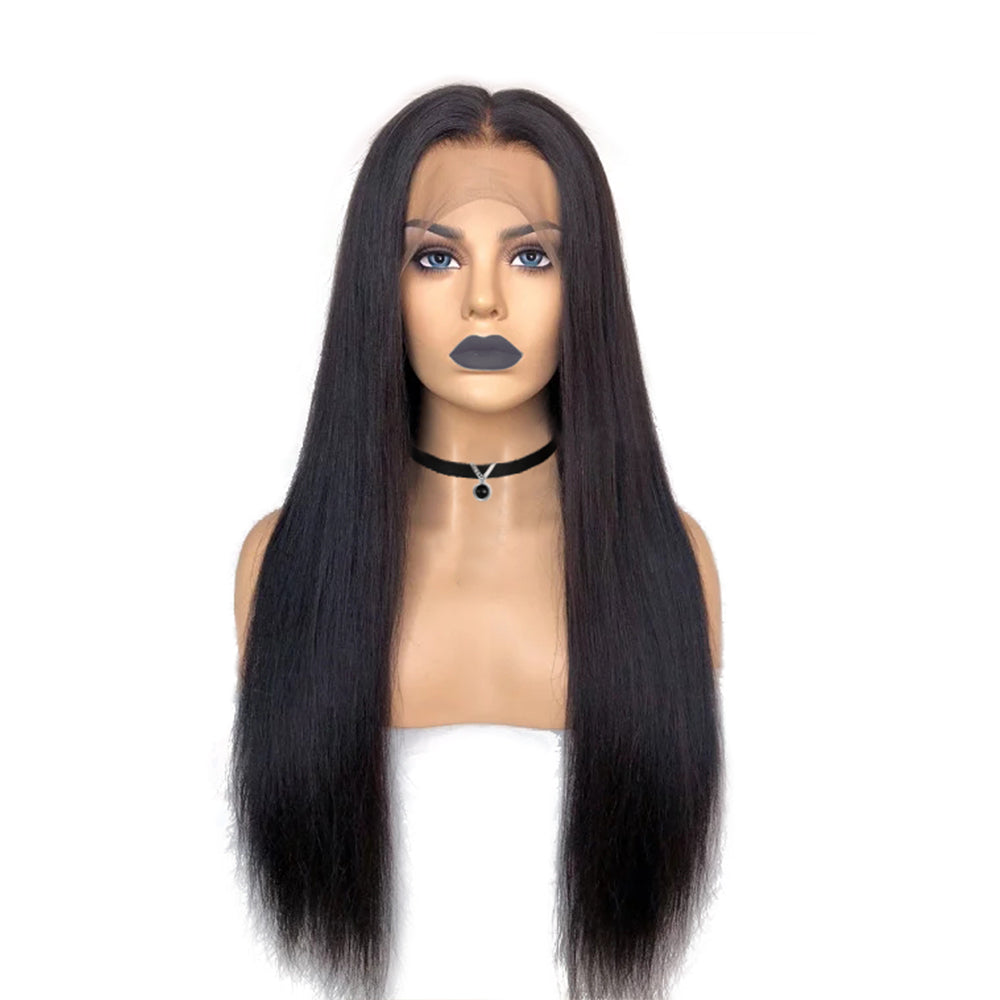 Pre-Made Fake Scalp Glueless Lace Front Wig Straight Human Hair Bleached Knots