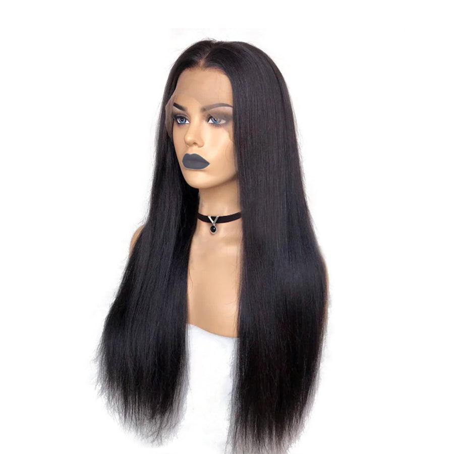 ISSA Glueless Pre-Made Fake Scalp Lace Front Wig Straight Human Hair Bleached Knots