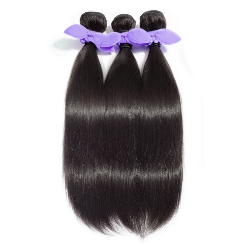 【Platinum 8A】3 Bundles Straight 8A Malaysian Virgin Hair 300g With 4*4 Free Part Lace Closure