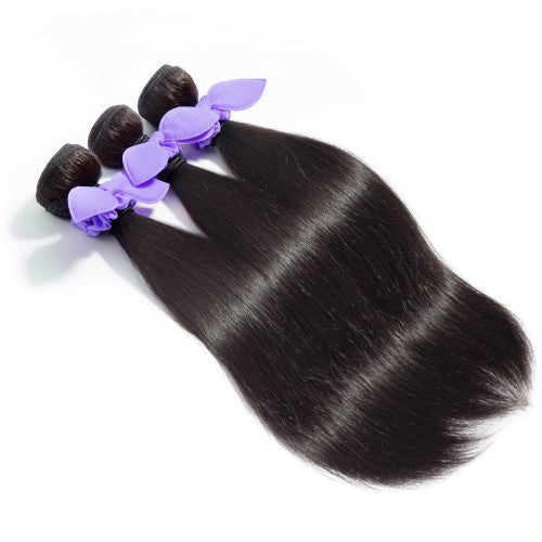 【Platinum 8A】3 Bundles Straight 8A Malaysian Virgin Hair 300g With 13*4 Free Part Lace Frontal