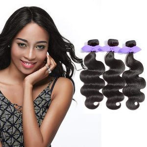 【Platinum 8A】	3 Bundles Body Wavy 8A Malaysian Virgin Hair Natural Black 300g