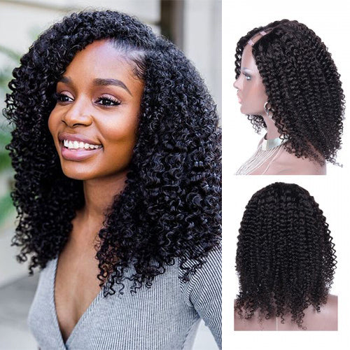 14 Inch Black Kinky Curly Indian Remy Hair U part Wigs